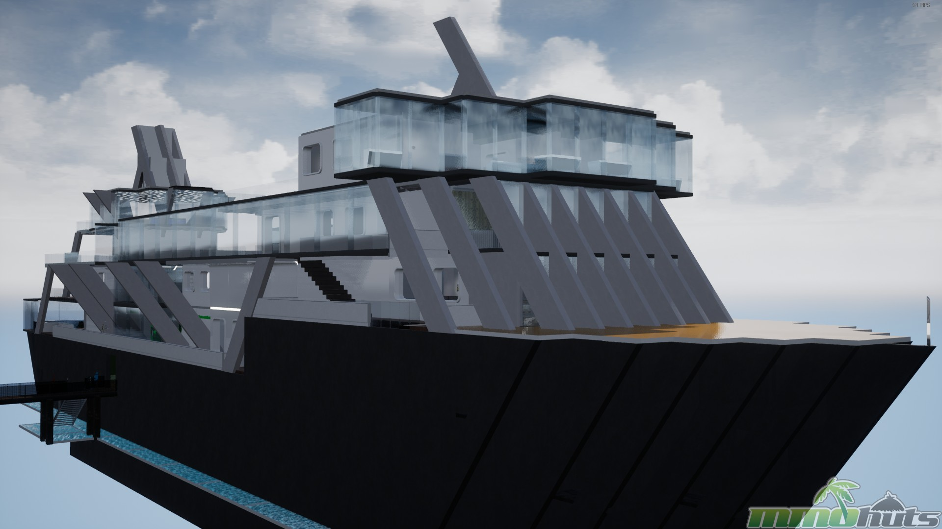 Screenshot of a yacht shaped gallery in Occupy White Walls