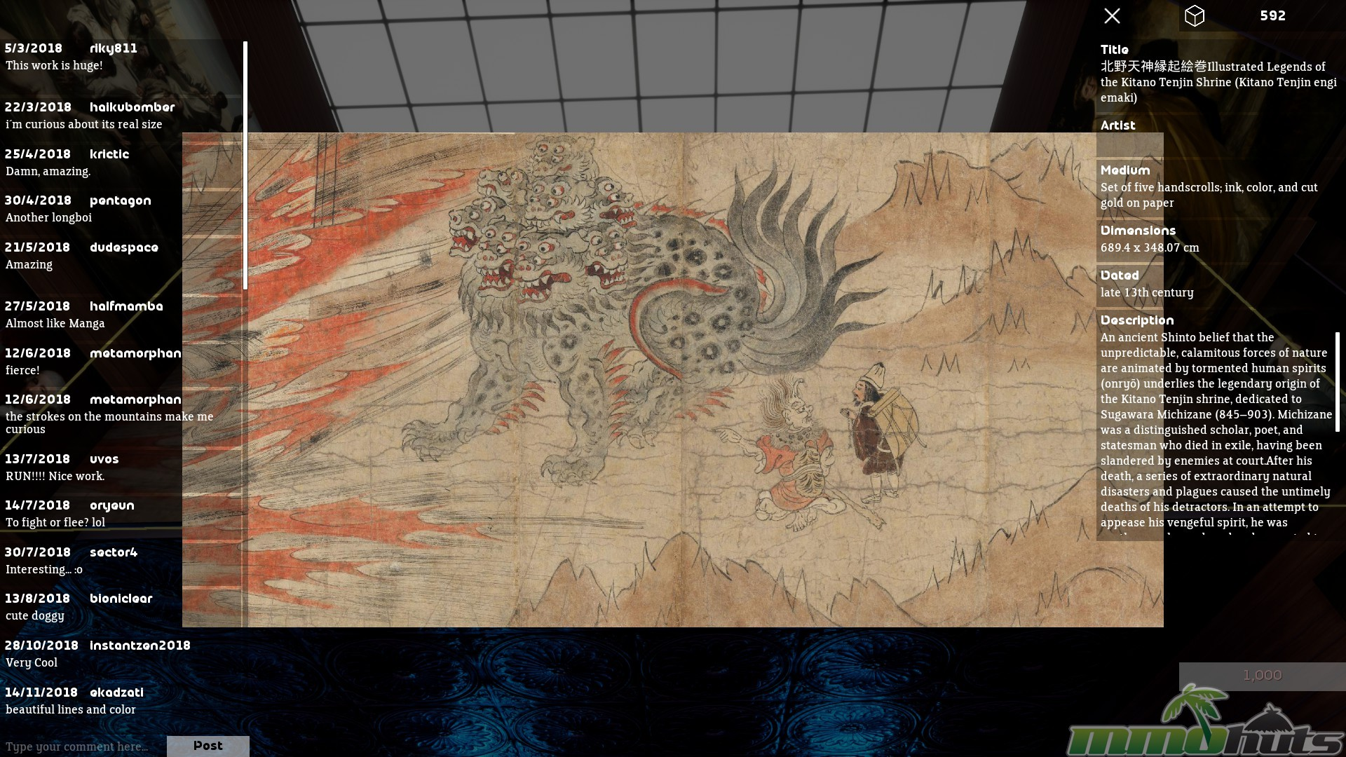Close up view of the Lessons of the Kitano Tenjin Shrine art scroll