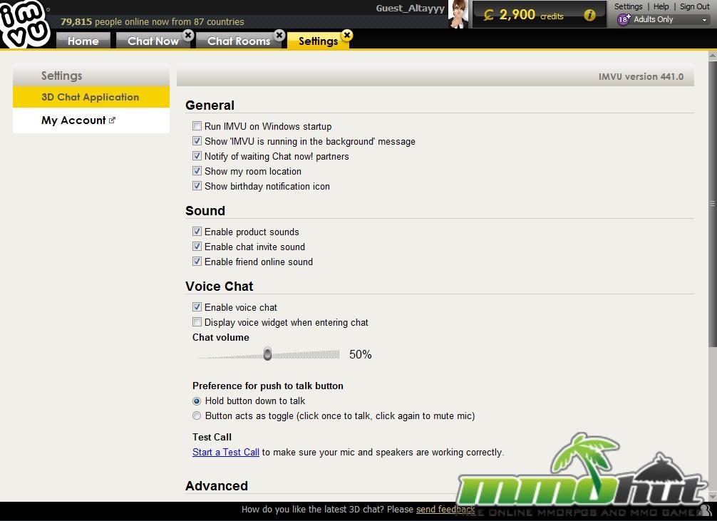 Imvu chat now settings