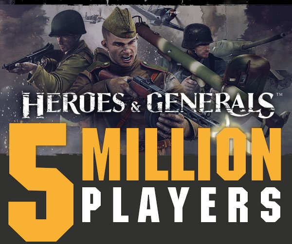 More than 5 million Heroes & Generals players worldwide Post Header