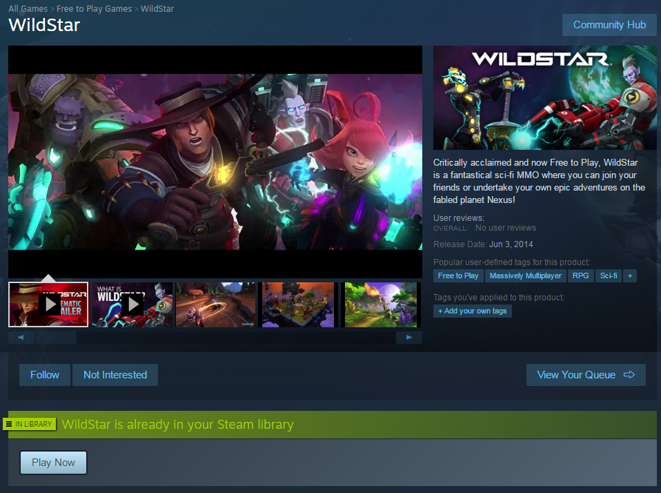 WildStar Now On Steam