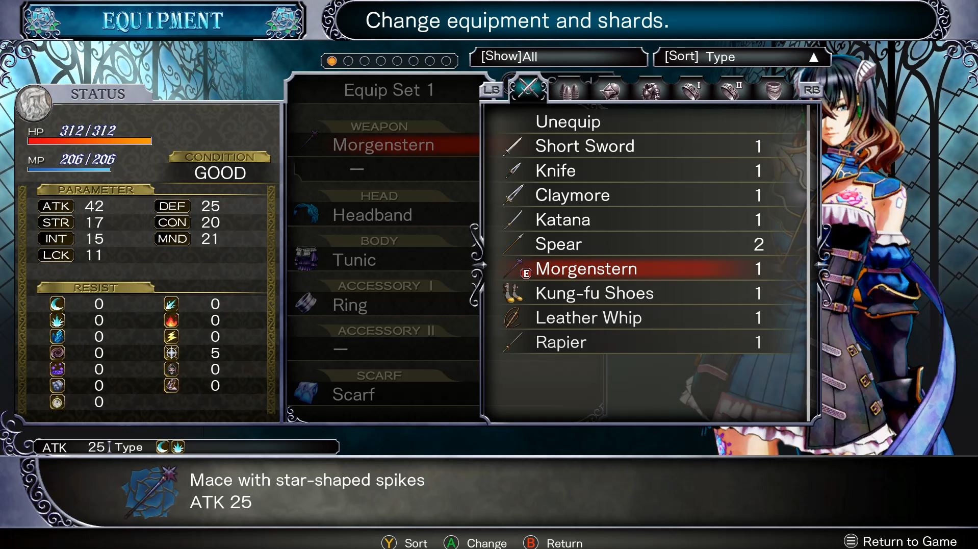 Bloodstained Equipment Screenshot