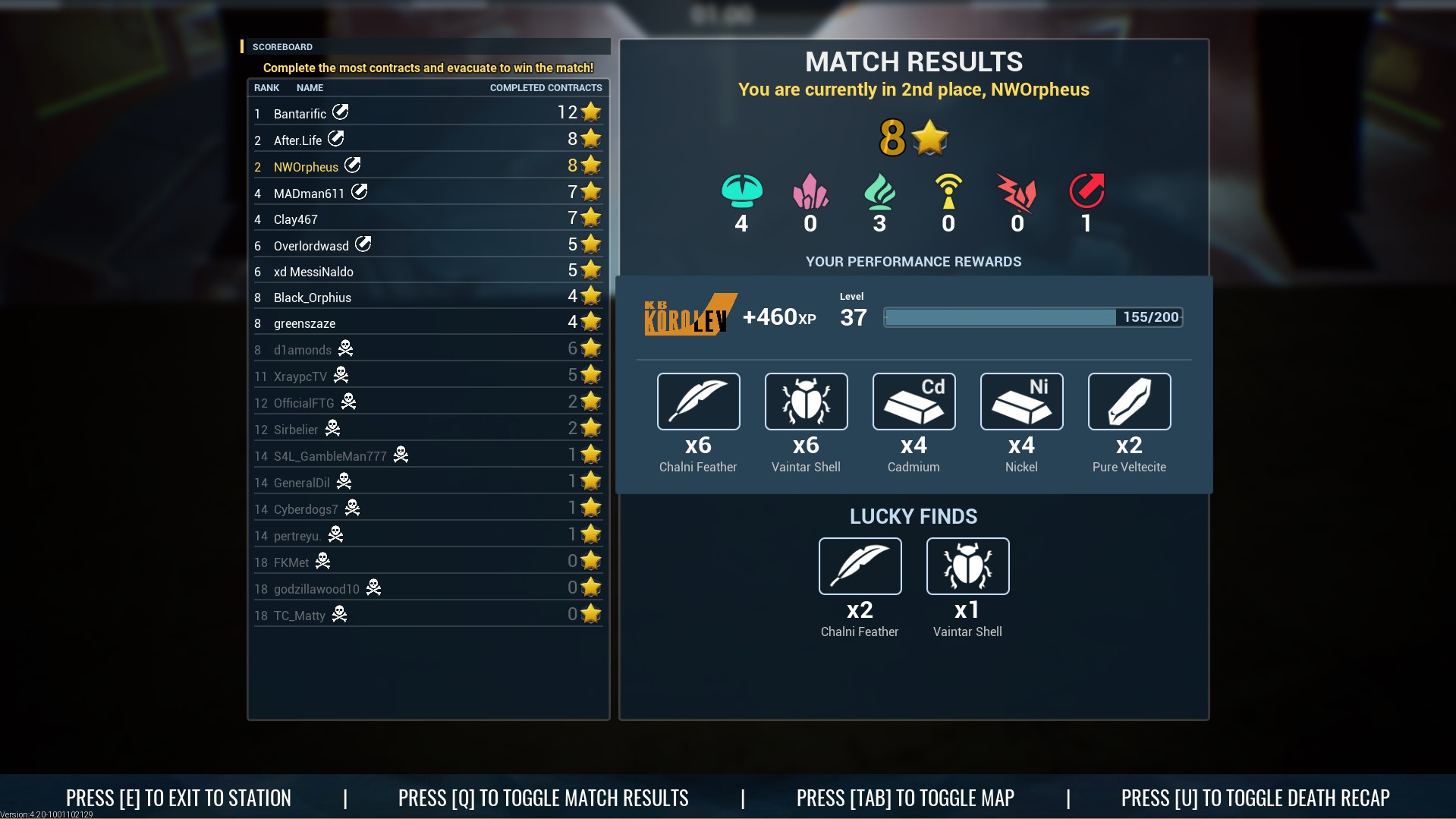 The Cycle Match Results Screenshot