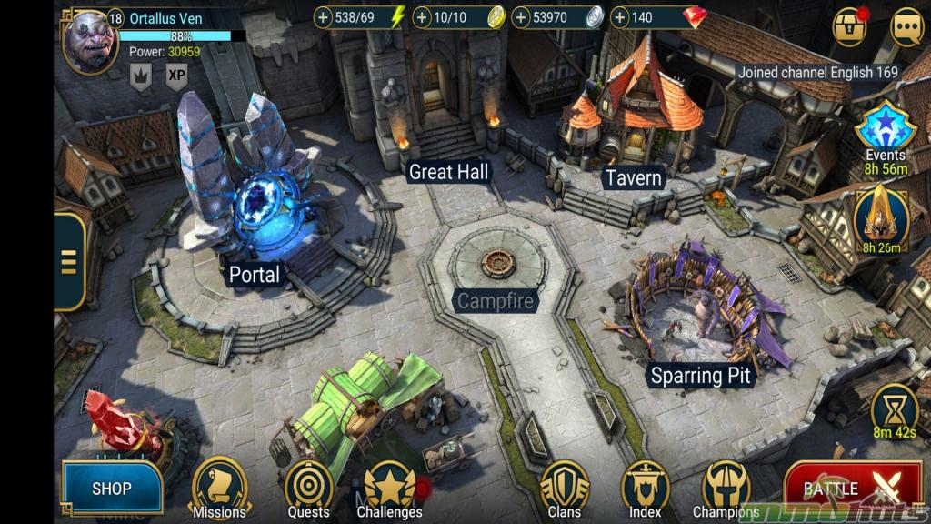 Screenshot of main town screen in Raid Shadow Legends