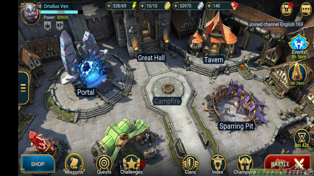 Screenshot of main town screen in Raid Shadow Legends
