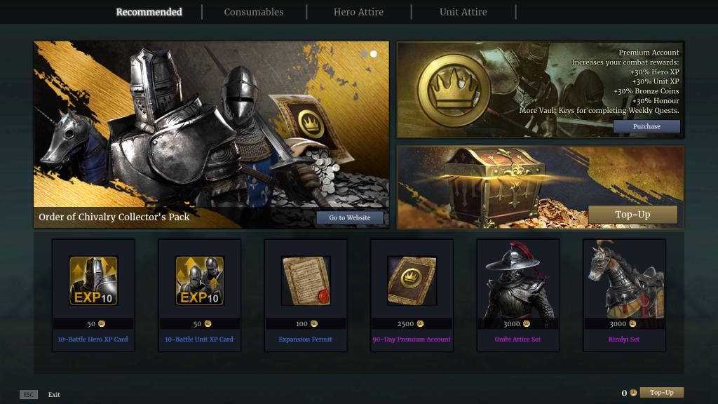 Conquerors Blade Premium Services